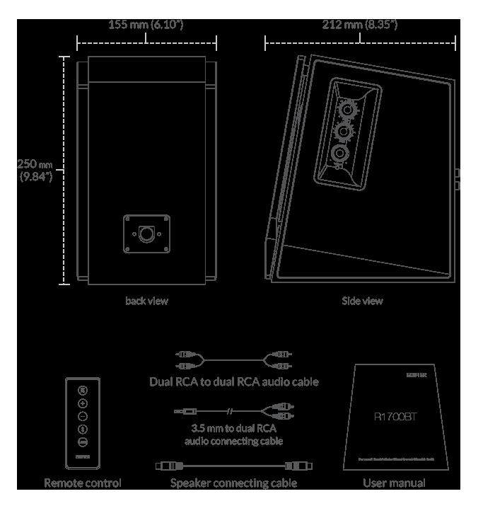 Edifier R1700 Bluetooth contenido