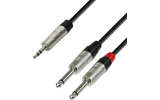 Adam Hall Cables K4 YWPP 0090 - Cable de Audio REAN de Minijack 3,5 mm estéreo a 2 Jacks 6,3 mm