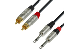Adam Hall K4TPC0300 - 3m de 2xRCA a Jack6.3mm mono