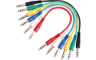 Adam Hall Cables K3 BVV 0030 SET Set Latiguillos de Cable de Jack 6 cables 6,3 mm estéreo a Jack