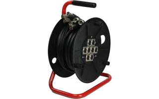 Adam Hall Cables K8C15D - Manguera de Cable en Enrollador con Cajetín de Escenario 8/0 15m