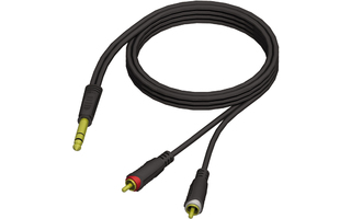 Adam Hall Cables REF 719 3 - Cable de Audio de Jack 6,3 mm estéreo a 2 RCA macho 3 m
