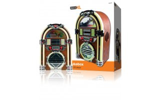 Radio AM/FM en forma de gramola retro con reproductor de CD