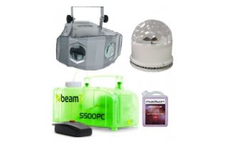 Beamz-s500pc + Showtec X-Ray Duo Moon + Liquido 1 litro +  Efecto iluminación 2 en 1 LED RGB Bla