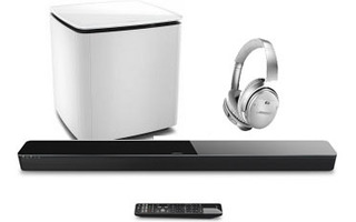 Bose SoundTouch 300 + Subgrave AM300 Blanco + Bose QC 35 II Plata