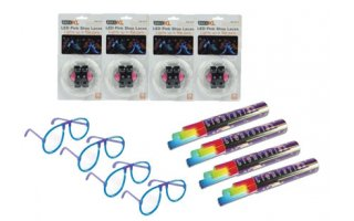 4x Cordones LED rosa + 4x Barritas luminiscentes multicolor + 4x Gafas Luminiscentes Azul