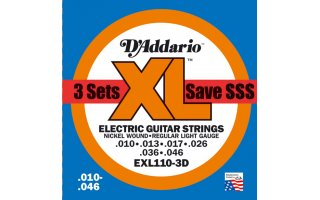 DAddario EXL110 - XL Regular Light (pack 3 juegos)
