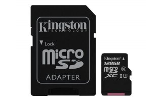 Kingston SDC10G2/128GB - Tarjeta microSD de 128GB (clase 10 UHS-I 45MB/s) con adaptador SD