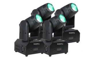 4x Moving Head Ibiza LMH 250 - 40W LED + Mando a control