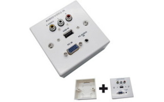 Placa de pared VGA+Jack3.5+USB2.0+3xRCA con caja, blanco