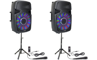 "Party Light & Sound 2x15"" SET pareja de altavoces con soportes y micrófonos"
