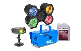 Party Light Sound Gobo Láser +  Órgano de luz modular + Marq Lighting Fog 400 LED Azul + Liquido
