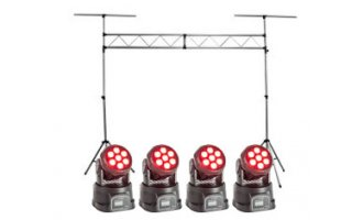 Puente de luces + 4x Cabezas Moviles Wash 56W LED RGBW