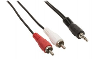 Cable adaptador de audio jack estéreo de 3.5 mm macho - 2 RCA macho de 1.50 m en color negro