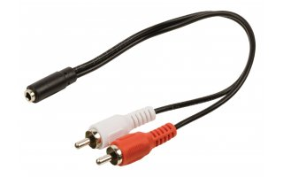 Cable adaptador de audio jack estéreo 2 RCA macho - 3.5 mm hembra de 0.20 m en color negro