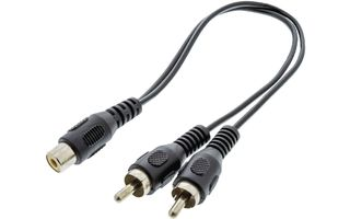 Cable divisor de audio 2 RCA macho - RCA hembra de 0.20 m en color negro