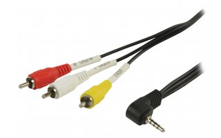 Cable Jack AV de jack AV 3,5 mm macho a 3 x RCA macho de 1,00 m en color negro