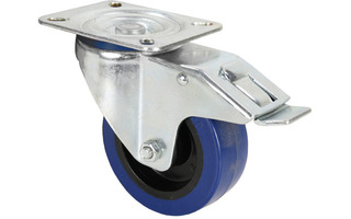 Adam Hall Hardware 372191 - Rueda giratoria 100mm azul con freno