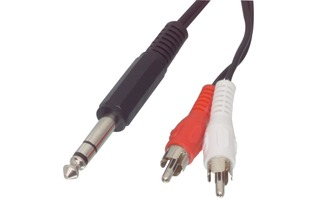 Cable adaptador de audio jack estéreo de 6.35 mm macho - 2 RCA macho de 2.00 m en color negro -