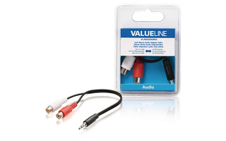 Cable adaptador de audio jack estéreo macho de 3.5 mm - 2 RCA hembra de 0.20 m en color negro