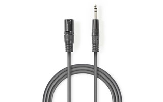 Cable de Audio XLR Compensado - XLR de 3 Pines Macho - 6,35 mm Macho - 3,0 m - Gris - Nedis COTH