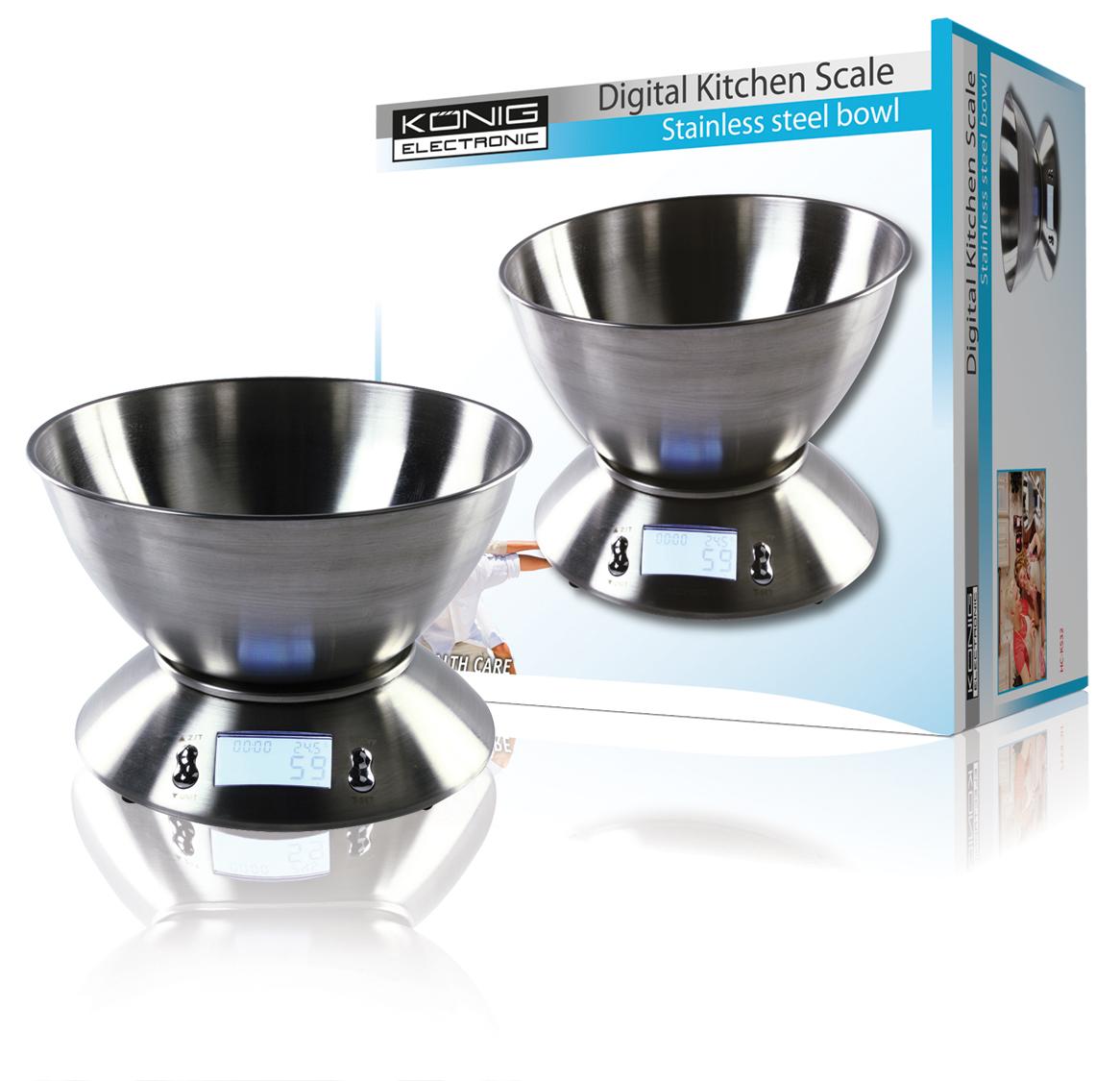 B scula de cocina digital con bol de acero inoxidable - Bascula de cocina barata ...