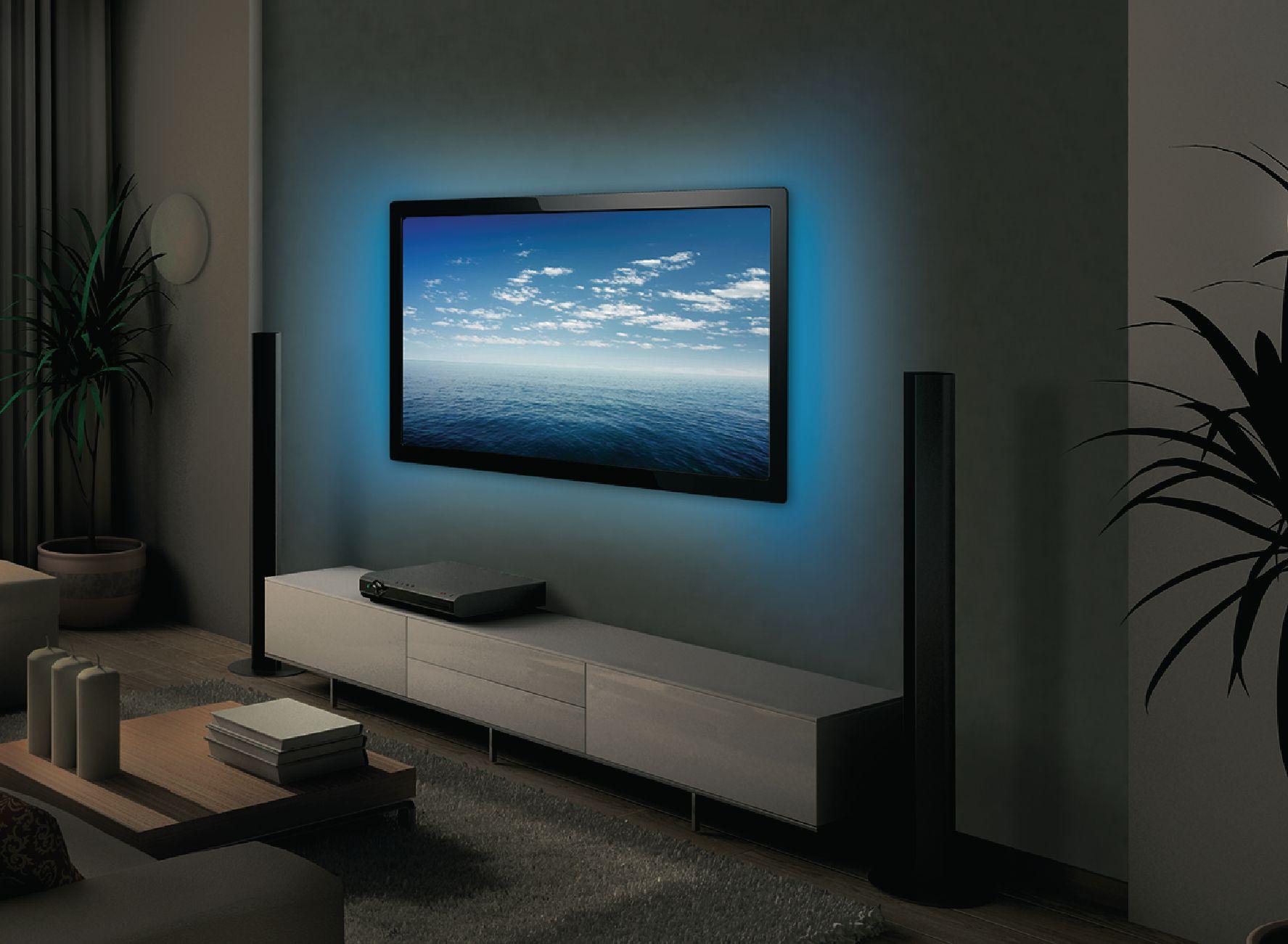 Luz ambiental mediante usb para el televisor en 2 cintas - Embellecedores de luz ...