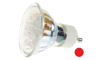 Bombilla LED GU10, 240V color ROJA