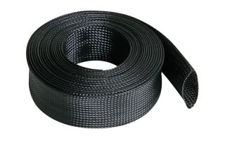 Funda trenzada para cable - flexible - 40 mm x 5 m - color negro