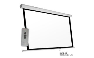 "Pantalla electrica videoproyector 100"" , formato: 4:3 , 2m x 1.5 m"
