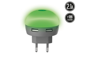 Transformador USB DIODE DualLED Verde 2.1A muvit life