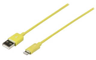 Cable USB de sincronización y carga, Lightning macho – USB A macho, 1,00 m, amarillo