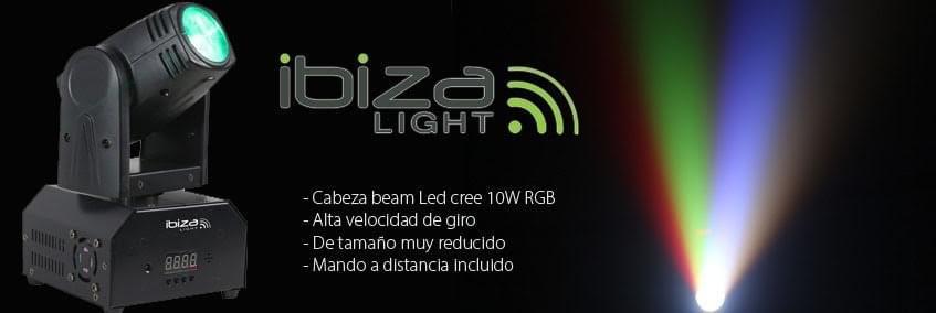 Cabeza móvil Beam 10W LED Cree RGBW con mando a