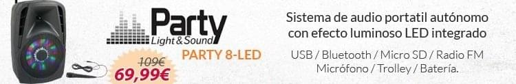sistema audio portatil party 8 led